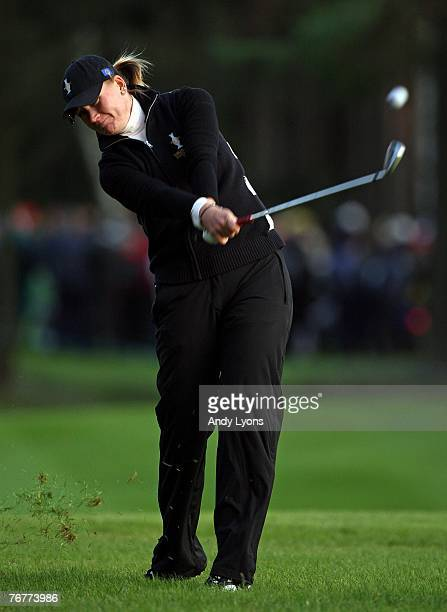 Linda Wessberg of The European Team hits her second shot on the 10th hole during the afternoon fourball matches of the 2007 Solheim Cup the Halmstad...