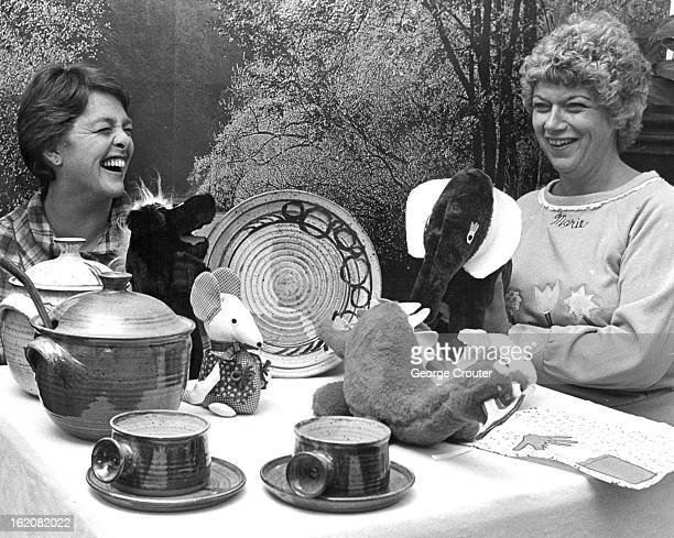 NOV 3 1982 Linda Wilton left and Marie Tucker display some of the items to be offered at boutique
