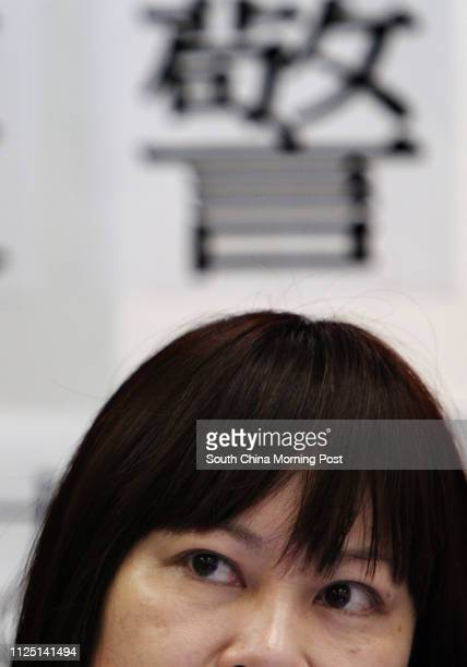 Linda Wong Sauyung Executive Director of Association Concerning Sexual Violence Against Women speaks at a press conference on the survey results on...