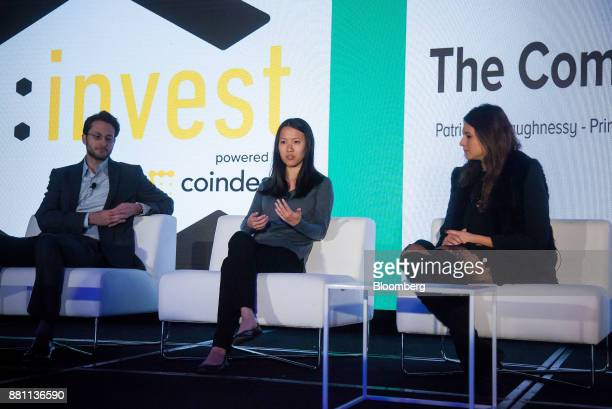 Linda Xie cofounder of Scalar Capital center speaks as Ari Paul chief investment officer and managing partner of BlockTower Capital left and Arianna...