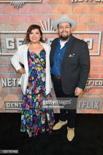 Linda Yvette Chavez and Marvin Bryan Lemus attends the premiere of Netflix's Gentefied at Plaza de la Raza on February 20 2020 in Los Angeles...