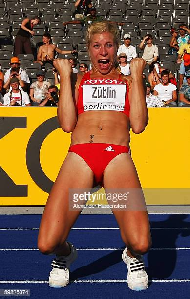 Linda Züblin of Switzerland celebrates a national record in the women's Heptathlon Final during day two of the 12th IAAF World Athletics...