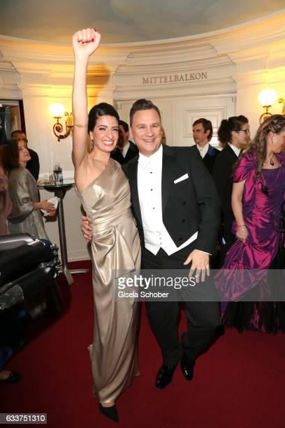 Linda Zervakis and Fashion designer Guido Maria Kretschmer during the Semper Opera Ball 2017 at Semperoper on February 3 2017 in Dresden Germany