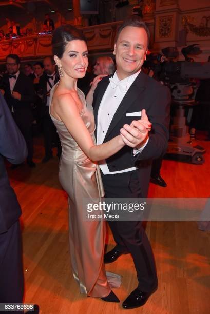Linda Zervakis and Guido Maria Kretschmer during the Semper Opera Ball 2017 at Semperoper on February 3 2017 in Dresden Germany