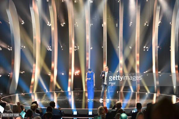 Linda Zervakis und Elton host the national selection final during the 'Eurovision Song Contest 2018 Unser Lied fuer Lissabon' show on February 22...