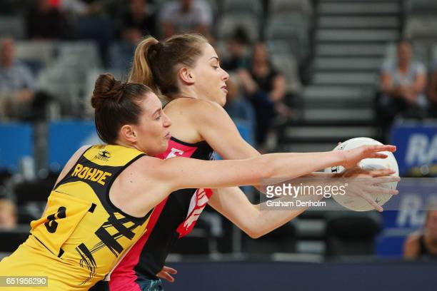 Lindal Rohde of the Western Sting puts pressure on her opponent during the round four ANL match between the Fury and the Sting at Hisense Arena on...