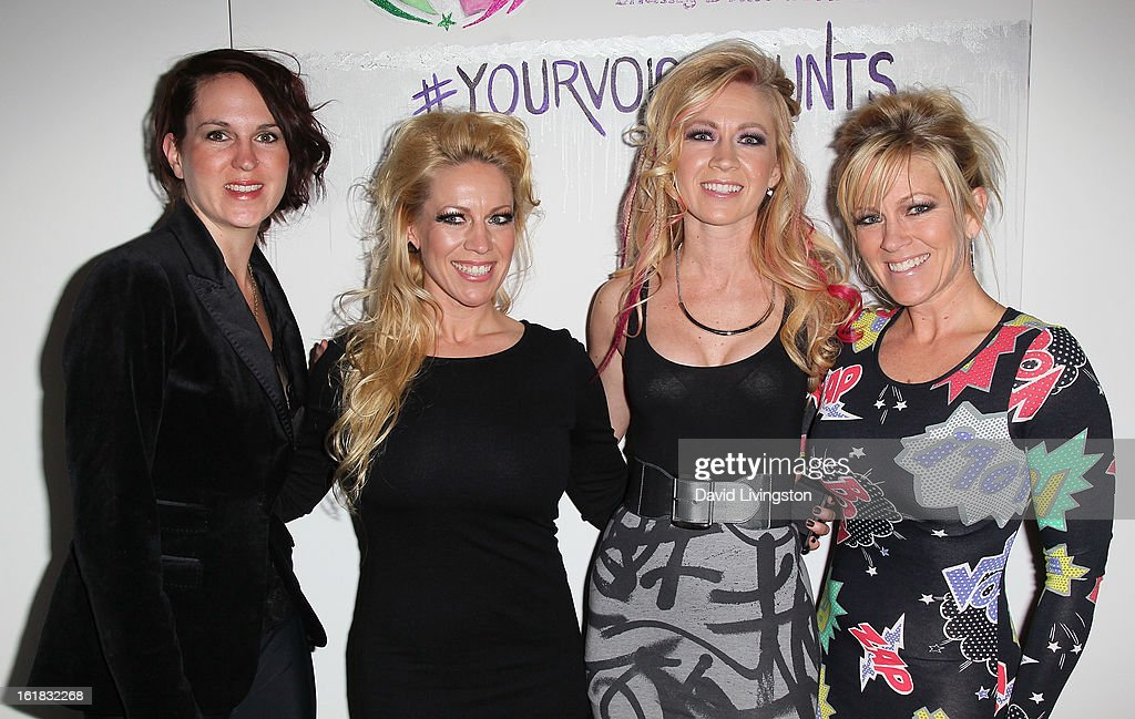 Linda's Voice executive director Holly Mattson and Linda's Voice founders/sisters Amanda Whitis, Summer Harlow and Kelley Whitis attend Linda's Voice joining with 'The Vagina Monologues' One Billion Rising Campaign at Voice's Unsilenced Live Art Auction at LAB ART on February 16, 2013 in Los Angeles, California.