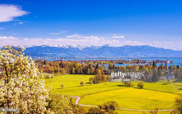 Lindau and Austrian Alps at Lake Constance (Bodensee) at spring