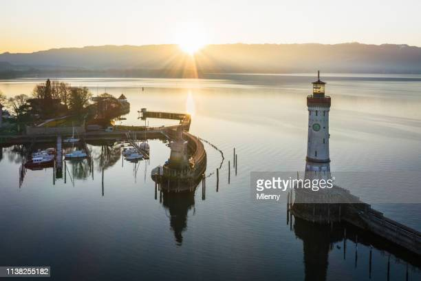 lindau at sunrise bodensee harbor bavaria germany - bodensee stock pictures, royalty-free photos & images