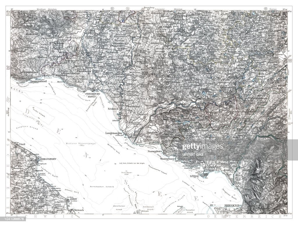 Lindau-Bodensee 1893, aus: Karte des Deutschen Reiches in 660 Einzelblättern im Maßstab 1:100.000, hrsg. vom Reichsamt für Landesaufnahme, Berlin 1893 : News Photo