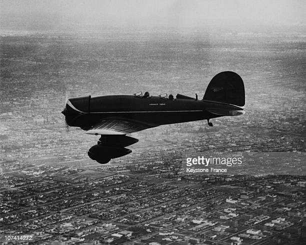 Lindberg Couple Flying Over Los Angeles In Their Monoplane Sirius On 1927