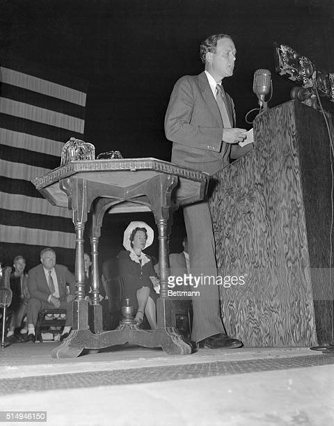 Lindbergh Addresses America First Rally in Cleveland Cleveland Ohio Charles A Lindbergh makes the speech before the rally of the America First...