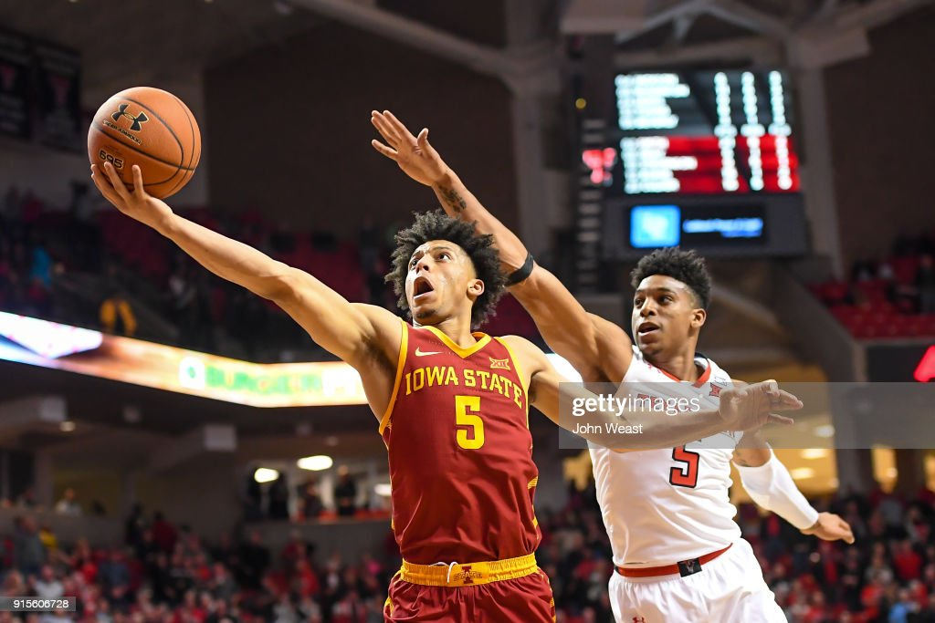 Lindell Wigginton #5 of the Iowa State Cyclones goes to the basket against Justin Gray #5 of the Texas Tech Red Raiders during the second half of the game on February 7, 2018 at United Supermarket Arena in Lubbock, Texas. Texas Tech defeated Iowa State 76-58.