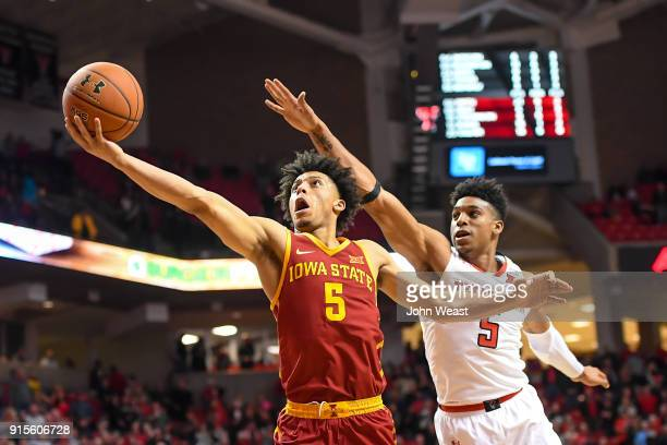 Lindell Wigginton of the Iowa State Cyclones goes to the basket against Justin Gray of the Texas Tech Red Raiders during the second half of the game...