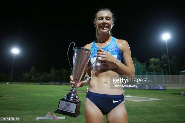 Linden Hall after competing in the womens 5000m during the Hunter Track Classic on January 20 2018 in Newcastle Australia