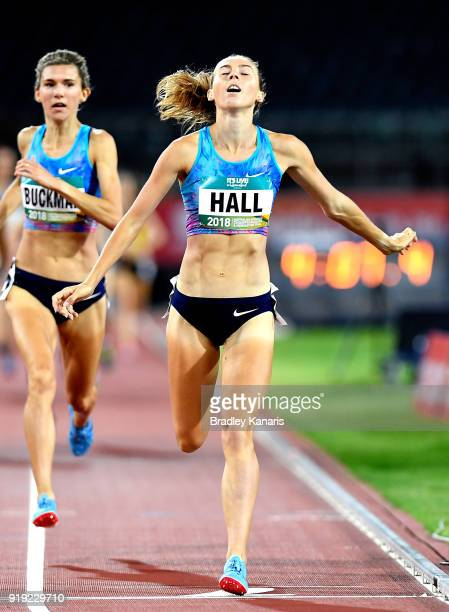 Linden Hall celebrates as she crosses the line to claim victory in the final of the Women's 1500m event during the Australian Athletics Championships...