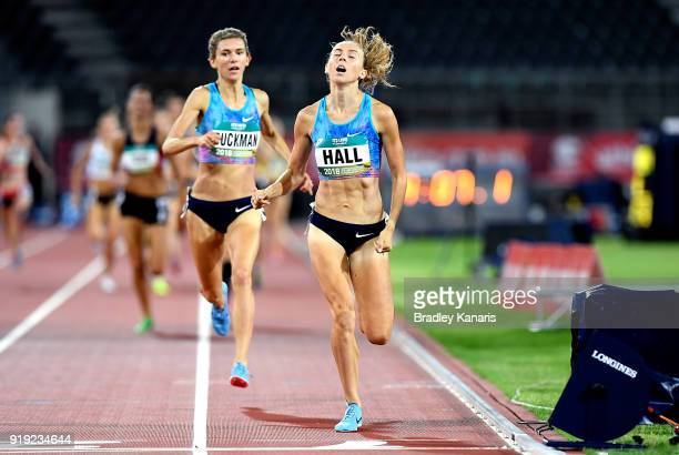 Linden Hall crosses the finish line to win the final of the Women's 1500m event during the Australian Athletics Championships Nomination Trials at...