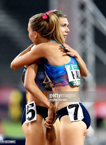 Linden Hall embraces Zoe Buckman after claiming victory in the final of the Women's 1500m event during the Australian Athletics Championships...