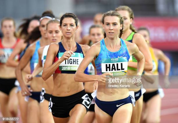 Linden Hall leads the race in round one of the Women's 1500m event during the Australian Athletics Championships Nomination Trials at Carrara Stadium...
