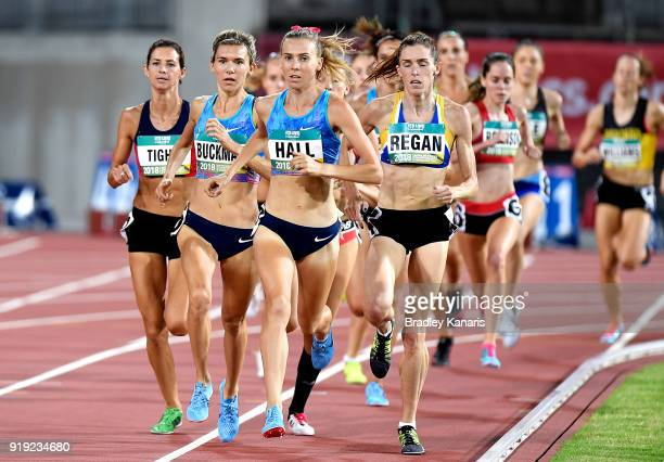 Linden Hall leads the race in the final of the Women's 1500m event during the Australian Athletics Championships Nomination Trials at Carrara Stadium...