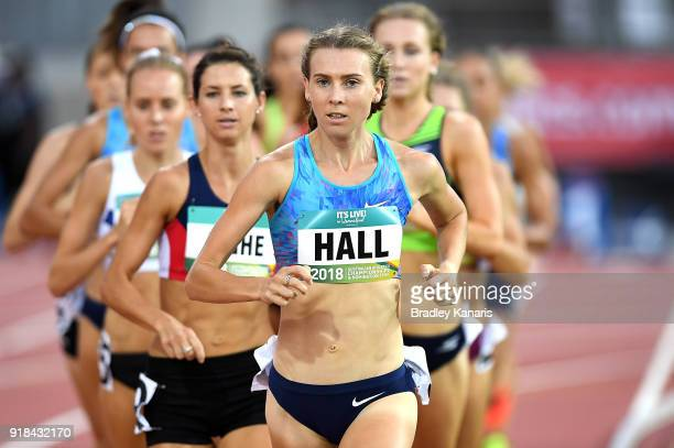 Linden Hall leads the race in the Women's 1500m event during the Australian Athletics Championships Nomination Trials at Carrara Stadium on February...
