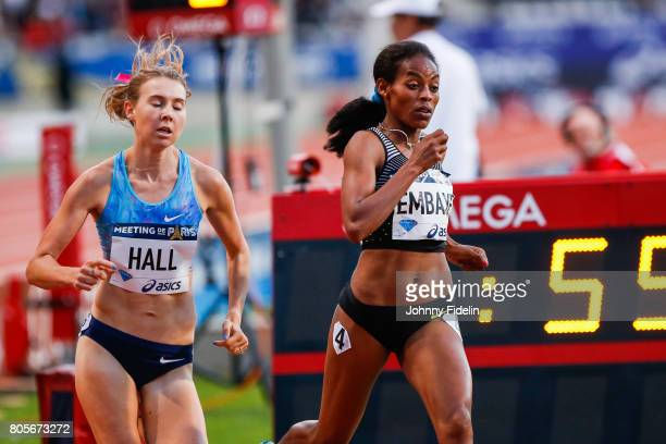 Linden Hall of Australia and Axumawith Embaye of Ethiopia 1500m Women's during the Meeting de Paris of the IAAF Diamond League 2017 on July 1 2017 in...