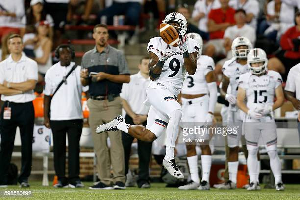 Linden Stephens of the Cincinnati Bearcats intercepts a pass during the fourth quarter of the game against the TennesseeMartin Skyhawks at Nippert...