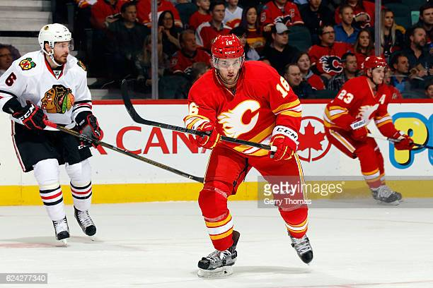 Linden Vey of the Calgary Flames skates against the Chicago Blackhawks during an NHL game on November 18 2016 at the Scotiabank Saddledome in Calgary...