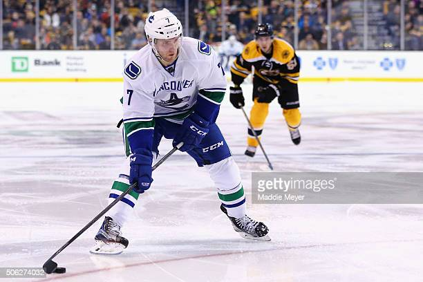 Linden Vey of the Vancouver Canucks skates against the Boston Bruins during the second period at TD Garden on January 21 2016 in Boston Massachusetts