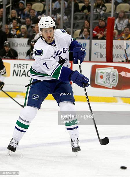 Linden Vey of the Vancouver Canucks skates against the Pittsburgh Penguins during the game at Consol Energy Center on December 4 2014 in Pittsburgh...