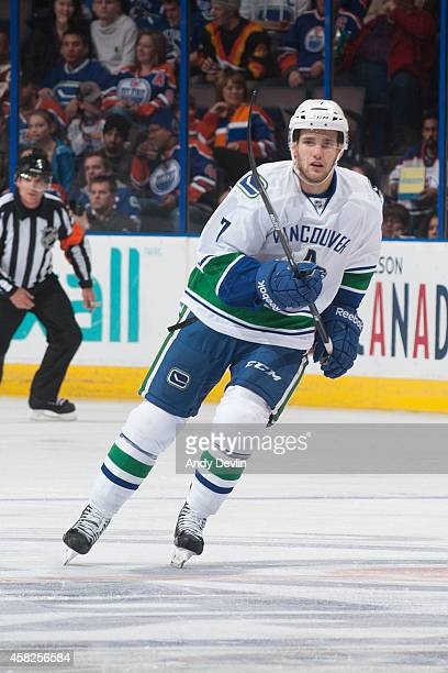 Linden Vey of the Vancouver Canucks skates on the ice in a game against the Edmonton Oilers on November 1 2014 at Rexall Place in Edmonton Alberta...