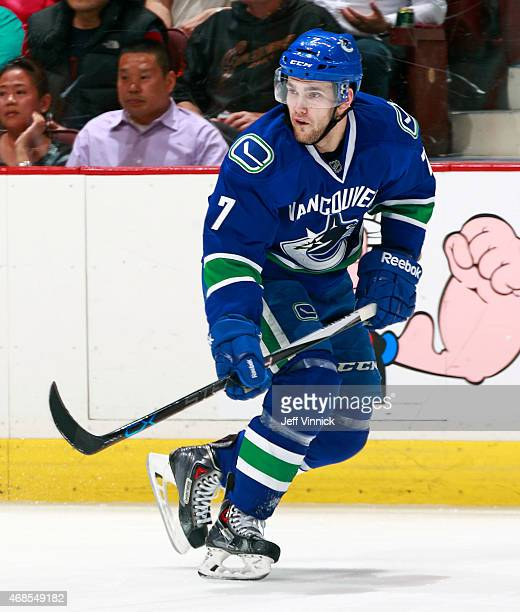 Linden Vey of the Vancouver Canucks skates up ice during their NHL game against the Columbus Blue Jackets at Rogers Arena March 19 2015 in Vancouver...