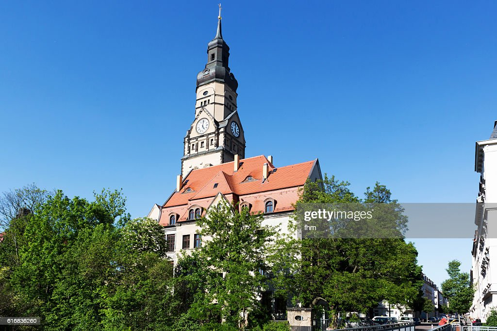 Lindenau district/ Leipzig (Saxony, Germany) - Philippus-Kirche : Stock Photo