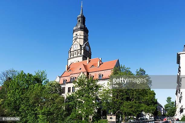 lindenau district/ leipzig (saxony, germany) - philippus-kirche - kirche stock pictures, royalty-free photos & images
