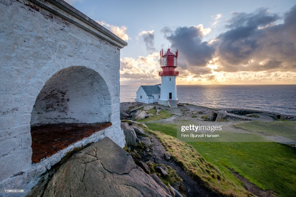 Lindesnes lighthouse, norways oldest and most southerly lighthouse : Stock Photo
