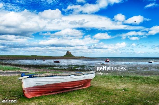 lindisfarne castle in northumberland, uk - northeastern england stock photos and pictures