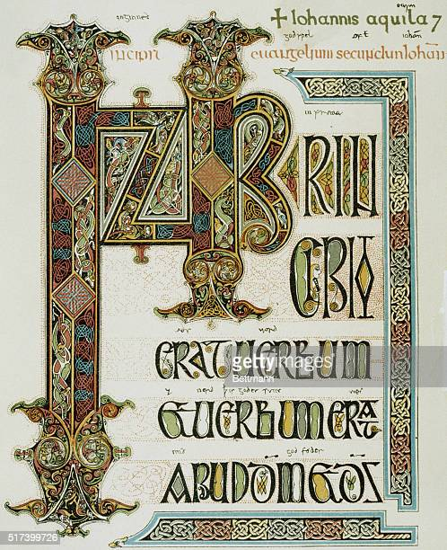 Lindisfarne Gospels circa 700 Located in the British Museum London England UK