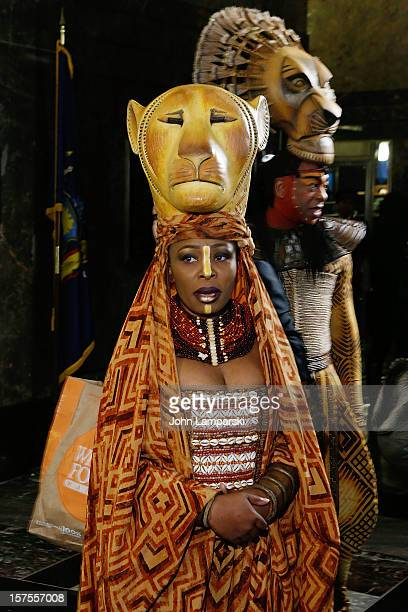 """Lindiwe Diamini and Alton Fitzgerald White attend the Lighting Ceremony Honoring The 15th Anniversary Of Broadway's """"The Lion King"""" at The Empire..."""