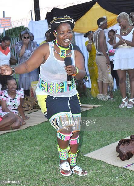 Lindiwe Dladla Thobajobe Sithole's mother dancing at the wedding of her gay son to Thoba Sithole on April 6 2013 at Siva Sungum Hall in Kwadukuza...