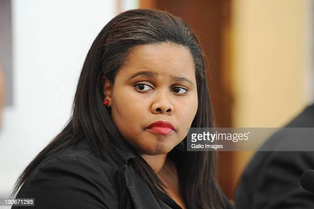 Lindiwe Mazibuko attends a press conference on her standing as the DA leader in Parliament on October 20 2011 in Cape Town South Africa