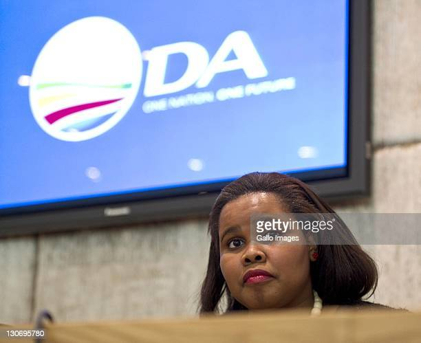 Lindiwe Mazibuko looks on during a press conference on October 27 2011 in Cape Town South Africa Lindiwe Mazibuko is the newly elected leader of the...