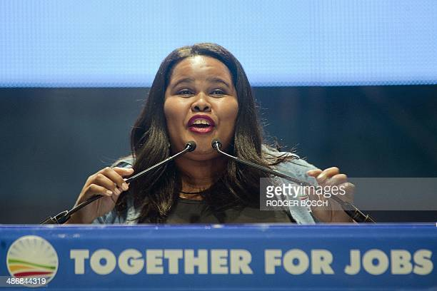 Lindiwe Mazibuko, parliamentary leader of the Democratic Alliance , the main South African opposition party, delivers a speech at a DA electioneering...
