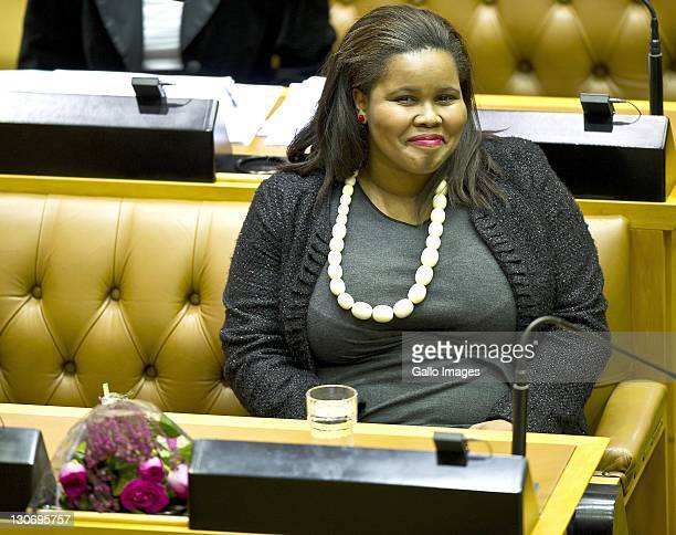 Lindiwe Mazibuko smiles in parliament on October 27 2011 in Cape Town South Africa Lindiwe Mazibuko is the newly elected leader of the DA in...