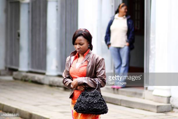 Lindiwe Noko leaves the Paarl court after her sentencing in Paarl Cape Town South Africa on October 19 2010 Noko was found guilty on charges of fraud...