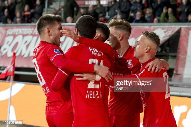 Lindon Selahi of FC Twente Giorgi Aburjania of FC Twente Oriol Busquets of FC Twente Noa Lang of FC Twente during the Dutch Eredivisie match between...