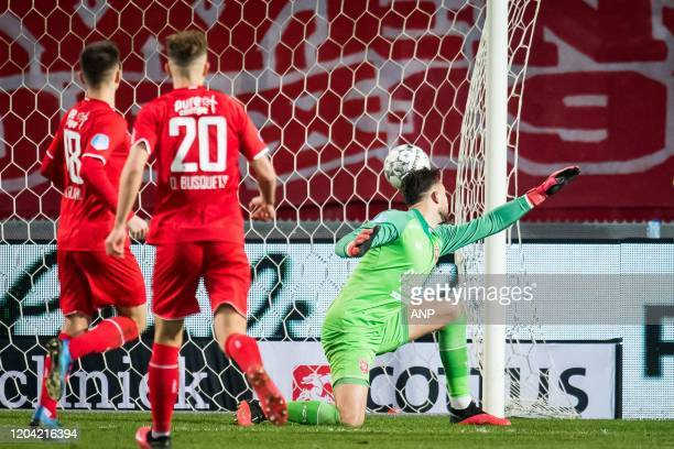 Lindon Selahi of FC Twente Oriol Busquets of FC Twente FC Twente goalkeeper Joel Drommel 02 goal during the Dutch Eredivisie match between FC Twente...