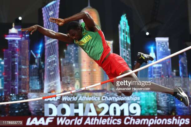 Lindon Victor of Grenada completes in the Men's Decathlon Pole Vault during day seven of 17th IAAF World Athletics Championships Doha 2019 at Khalifa...