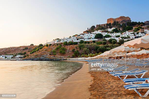 lindos beach - lindos stock photos and pictures