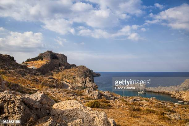 lindos countryside - rhodes dodecanese islands stock photos and pictures
