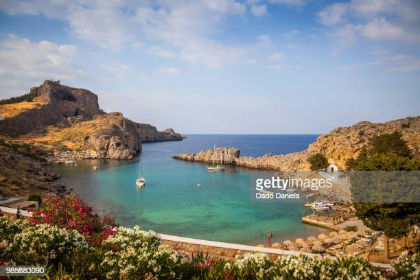 lindos - rhodes dodecanese islands stock photos and pictures